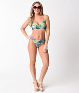 Esther Williams Retro Style Green Paradiso Bikini Swim Bottom