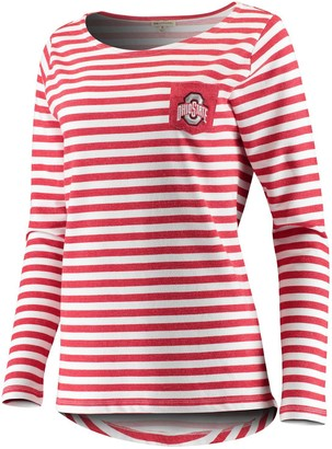 Unbranded Women's Scarlet Ohio State Buckeyes Missy Elbow Patch Terry Sweatshirt
