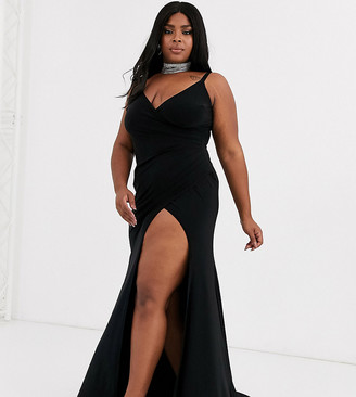 Club L London Plus plunge front maxi dress with high thigh split in black