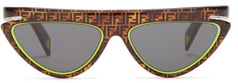 Fendi Ff Logo Flat-top Cat-eye Acetate Sunglasses - Womens - Brown Multi