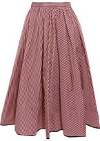 Tome Striped Taffeta Midi Skirt - Red