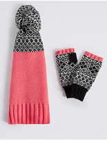 M&S Collection Fairisle Scarf & Gloves Set