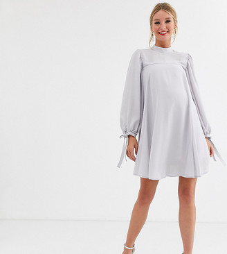 Asos DESIGN Maternity mini high neck swing dress with tie sleeves-Gray