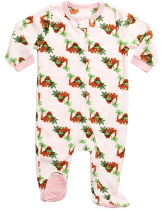Leveret Pink Dinosaur Footed Fleece Pajama