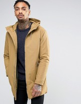 Pull&Bear Parka With Hood In Tan