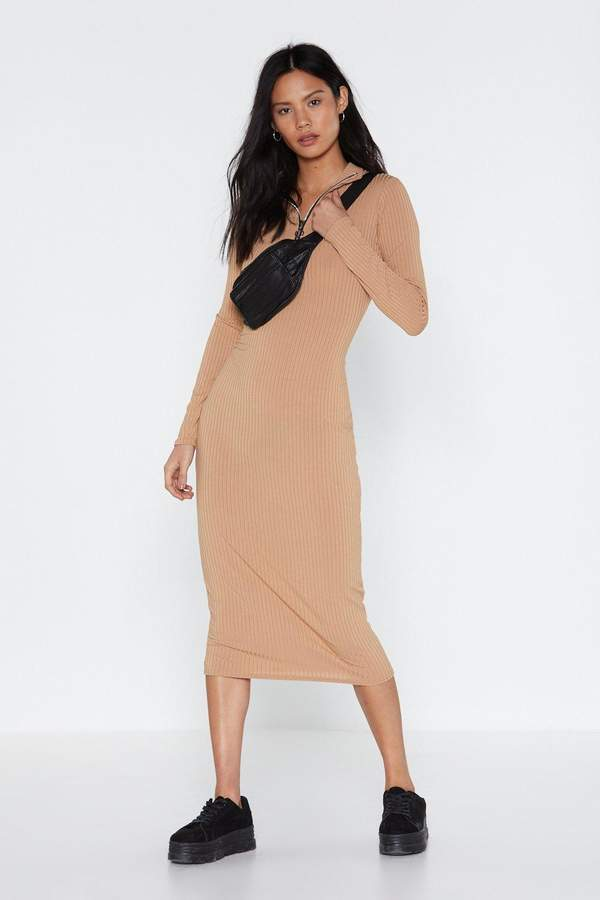 Nasty Gal Womens You'Ll Pull Through Zip Maxi Dress - Beige - 8, Beige