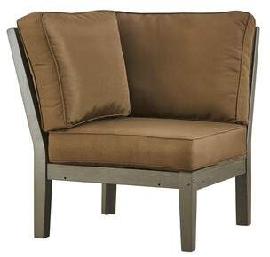 Three Posts Hursey Corner Chair with Cushion Color: Gray, Fabric: Brown