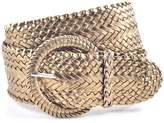 NYfashion101 Ladies Fashion Web Braid Faux Leather Woven Metallic Wide Belt 22 Colors