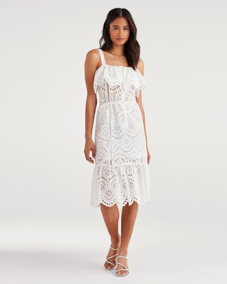 7 For All Mankind Eyelet Midi Dress in White