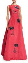 Oscar de la Renta Bateau-Neck Floral-Sequin Gown, Pink/Navy