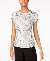MSK Printed Faux-Wrap Top