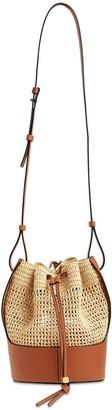 Loewe Small Balloon Raffia & Leather Bag
