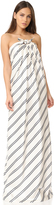 Halston Strapless Variegated Stripe Gown
