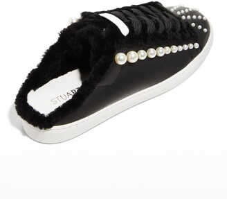 Stuart Weitzman Goldie Chill Pearly Faux-Fur Mule Sneakers