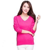 Panreddy Women's 100% Cashmere Slim Fit V Neck Sweater L