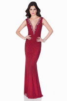 Terani Couture Plunging V-Neck with Shimmering Crystals Evening Gown 1622E1578
