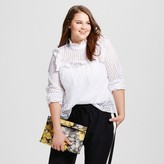 Who What Wear Women's Plus Size Eyelet Pioneer Shirt