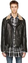Faith Connexion Black Leather Shearling Collar Jacket