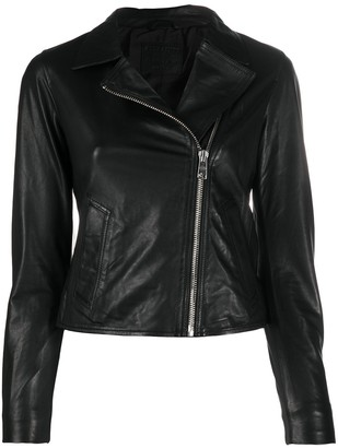 AllSaints Off-Centre Zipped Biker Jacket