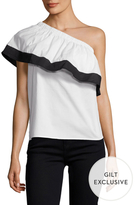 Lucca Couture Colorblocked Asymmetrical Ruffle Blouse
