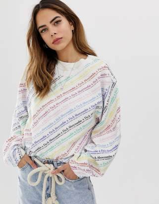 Abercrombie & Fitch relaxed sweatshirt with rainbow logo-Multi