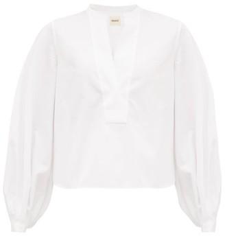 KHAITE Suzanna Puff-sleeve Cotton-poplin Blouse - White