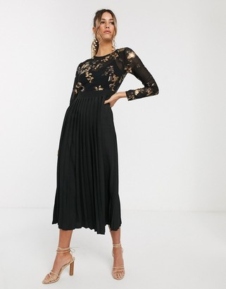 Little Mistress long sleeve embroidered midi skater dress-Black