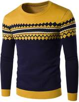 WSLCN Mens Knitted Pullover Long Sleeve Sweaters Aztec Pattern Jumper