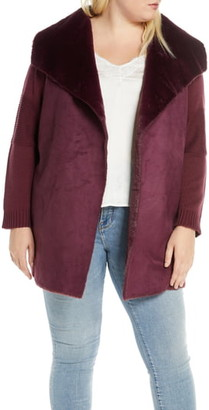 Single Thread Sweater Jacket with Faux Fur Trim