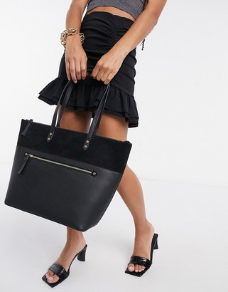 Accessorize structure tote bag with front zip in black