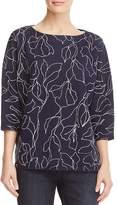 Lafayette 148 New York Chain-Trim Floral Jacquard Sweater