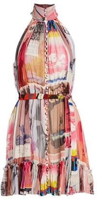 Zimmermann Wavelength Graphic Sleeveless Mini A-Line Dress