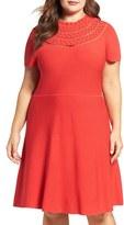 Eliza J Plus Size Women's Eyelet Detail Scallop Neck Fit & Flare Dress