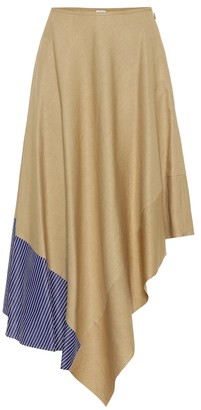 Loewe Asymmetric linen and cotton skirt