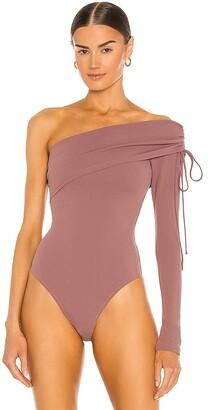 NBD One Shoulder Drawstring Bodysuit