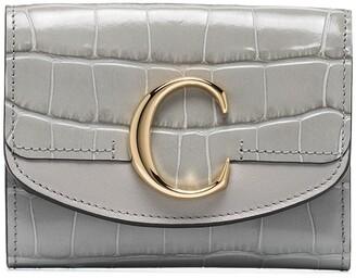 Chloé C crocodile-effect leather wallet