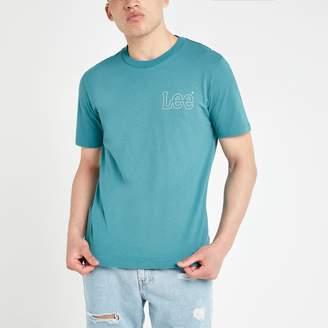 Lee Mens River Island Blue logo print T-shirt