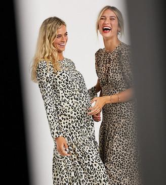 ASOS DESIGN Maternity midi smock dress in leopard print