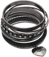 Mudd Heart Charm, Mesh & Studded Bangle Bracelet Set