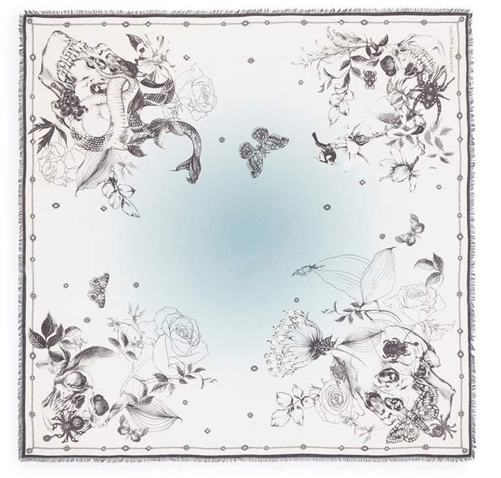 Alexander McQueen 'Wild Botanical Skull' print modal-wool scarf