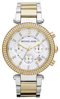 Michael Kors Mid Size Silver and Gold Tone Stainless Steel Parker Chronograph Glitz Watch