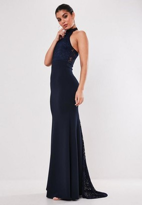 Missguided Bridesmaid Navy Lace Halterneck Fishtail Maxi Dress