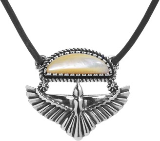 American West Sterling Unisex Gemstone Eagle Leather Necklace
