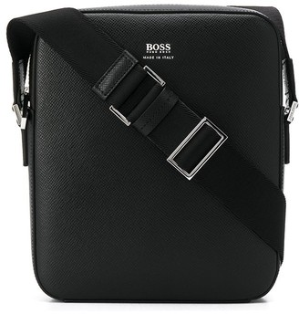 BOSS Grained Leather Messenger Bag