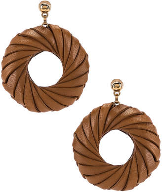 Bottega Veneta Leather Circle Earrings in Caramel | FWRD