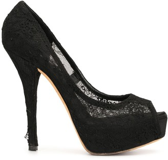 Dolce & Gabbana Pre-Owned Sheer Lace Panel Platform Pumps