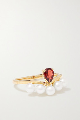 Anissa Kermiche Age Of Innocence 14-karat Gold, Pearl And Garnet Ring - 5