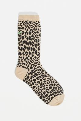 Urban Outfitters Dark Leopard Smile Face Socks 1-Pack - Brown ALL at