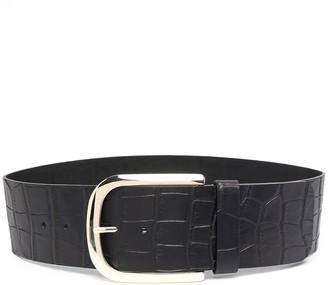 Erika Cavallini Crocodile-Embossed Leather Belt