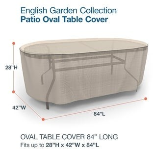 Budge Waterproof Outdoor Oval Patio Table Cover, English Garden, Tan Tweed, Multiple Sizes